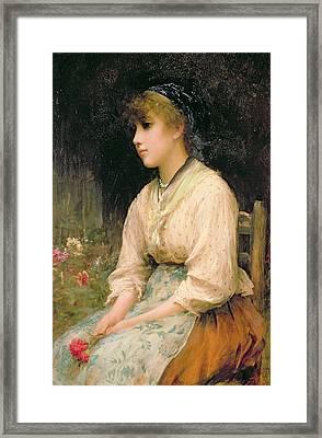 A Venetian Flower Girl Framed Print by Sir Samuel Luke Fildes