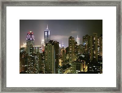 A View Of Illuminated Hong Kong Framed Print by Justin Guariglia