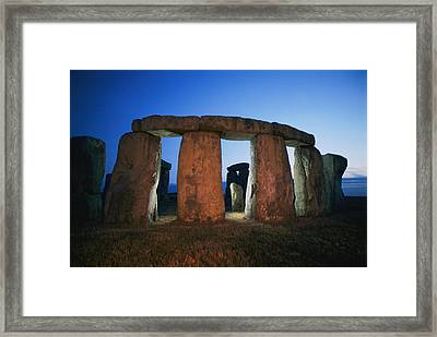 A View Of Stonehenge Silhouetted Framed Print by Richard Nowitz