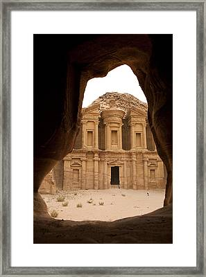 A View Of The Monastary In Petra Framed Print by Taylor S. Kennedy