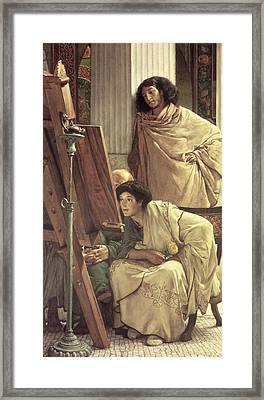 A Visit To The Studio Framed Print by Sir Lawrence Alma-Tadema