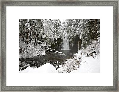 A Waterfall In To A River In Winter Framed Print by Craig Tuttle