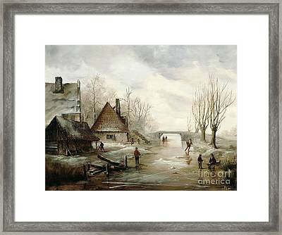 A Winter Landscape With Figures Skating Framed Print by Dutch School