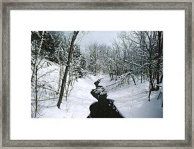 A Winter View Of Rush Brook Framed Print by James P. Blair