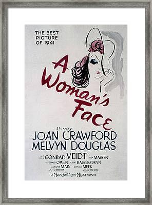 A Womans Face, Joan Crawford, 1941 Framed Print by Everett