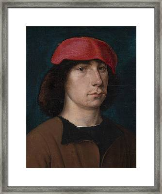 A Young Man In A Red Cap Framed Print by Michiel Sittow