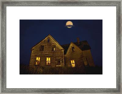 Abandoned House At Night Under Full Framed Print by John Sylvester