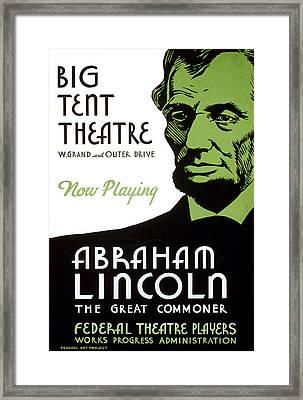 Abe Lincoln Wpa Poster Framed Print by Paul Van Scott