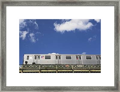 Above Ground Subway Cars Framed Print by Fotog1
