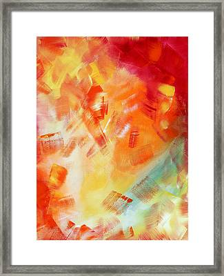 Abstract Art Colorful Bright Pastels Original Painting Spring Is Here I By Madart Framed Print by Megan Duncanson