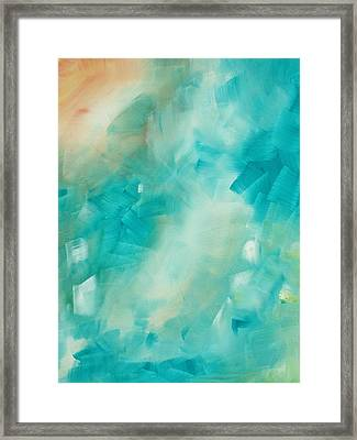 Abstract Art Colorful Bright Pastels Original Painting Spring Is Here II By Madart Framed Print by Megan Duncanson
