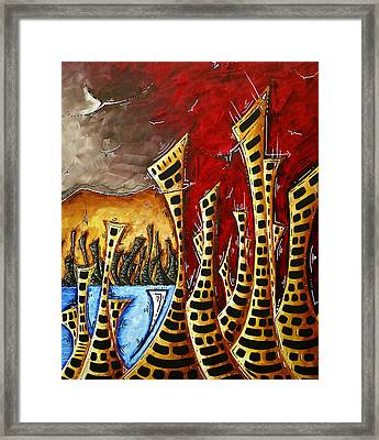 Abstract Art Contemporary Coastal Cityscape 3 Of 3 Capturing The Heart Of The City II By Madart Framed Print by Megan Duncanson