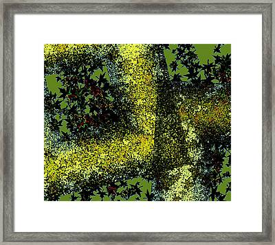 Abstract Art Of Leaves Within Diagonals  Framed Print by Mario Perez