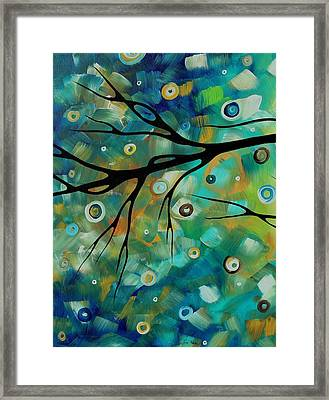 Abstract Art Original Landscape Painting Colorful Circles Morning Blues II By Madart Framed Print by Megan Duncanson