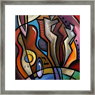 Abstract Art Original Painting Ovation Framed Print by Tom Fedro - Fidostudio