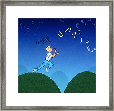 Abstract Artwork Of A Dyslexic Boy Chasing Words Framed Print by David Gifford