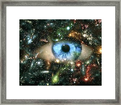 Abstract Computer Graphic Of An Eye On Starfield Framed Print by Mehau Kulyk