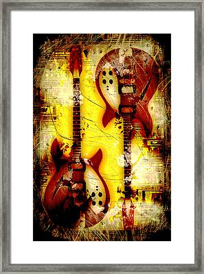Abstract Grunge Guitars Framed Print by David G Paul