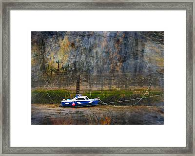 Abstract Harbour And Boat Framed Print by Svetlana Sewell