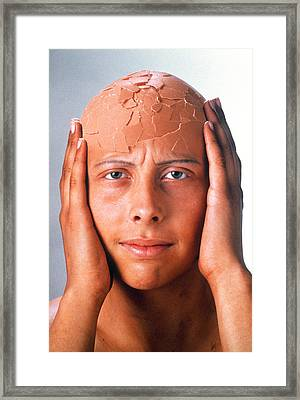 Abstract Image Of A Person With A Cracked Head Framed Print by Victor De Schwanberg