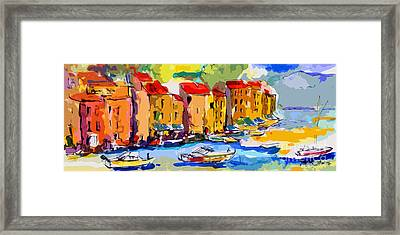 Abstract Portofino Italy And Boats Framed Print by Ginette Callaway