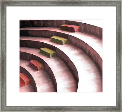 Abstract Seating In The Round Framed Print by Elaine Plesser