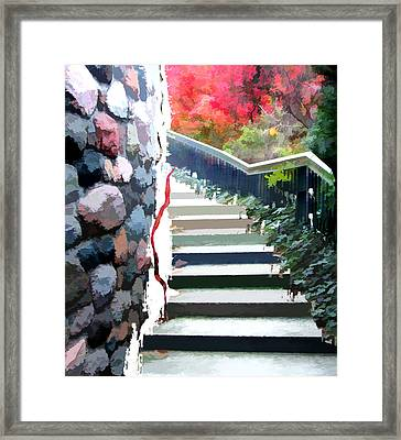 Abstract Staircase In The Garden Framed Print by Elaine Plesser