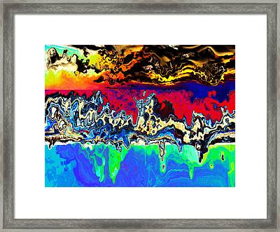 Abstract Volcanic Sky Land And Ocean Framed Print by Elaine Plesser