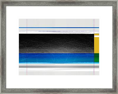 Abstract With Blue And Yellow  Framed Print by Naxart Studio