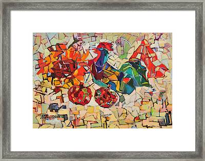 Abstract With Rooster Framed Print by Liubov Meshulam Lemkovitch