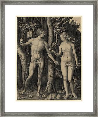 Adam And Eve, 1504 Engraving By German Framed Print by Everett
