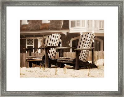 Adirondack Chairs On The Beach - Jersey Shore Framed Print by Angie Tirado