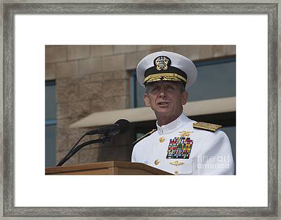 Admiral Eric Olson Speaks Framed Print by Michael Wood