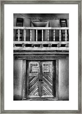 Adobe Church Door And Balcony Framed Print by Steven Ainsworth