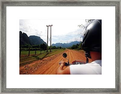 Adventure Motorbike Trip In Laos Framed Print by Thepurpledoor