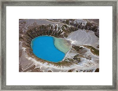 Aerial View Of Crater Lake In Tongariro Framed Print by Richard Roscoe