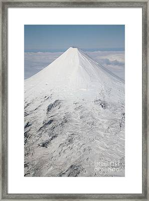 Aerial View Of Glaciated Shishaldin Framed Print by Richard Roscoe