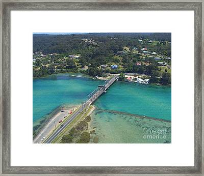 Aerial View Of Narooma Bridge And Inlet Framed Print by Joanne Kocwin