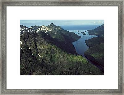 Aerial View Of The Alaskan Shores Framed Print by Karen Kasmauski