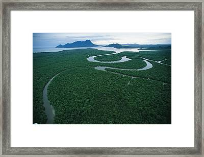 Aerial View Of The Salak River. Mount Framed Print by Tim Laman