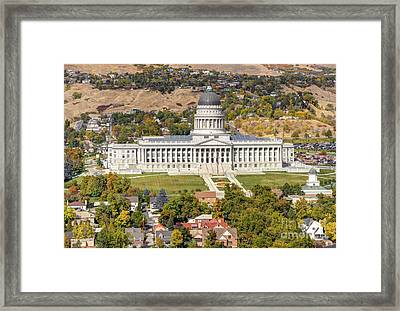 Aerial View Of Utah State Capitol Building Framed Print by Gary Whitton