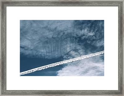 Aeroplane Contrail Framed Print by Laurent Laveder