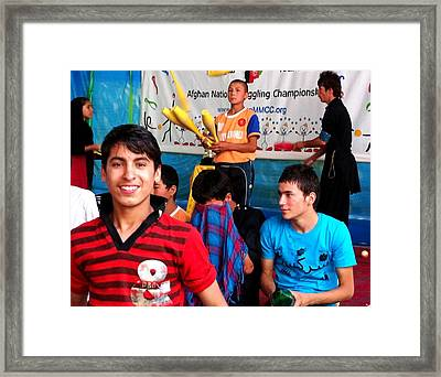 Afghan Children Circus Framed Print by Fareeha Khawaja