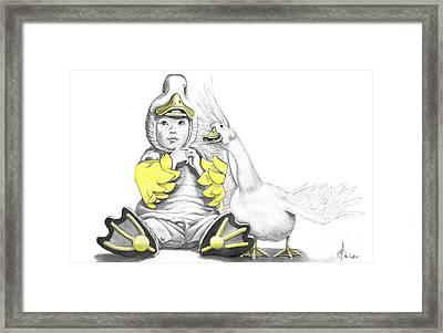 Aflac Baby Duck Framed Print by Murphy Elliott