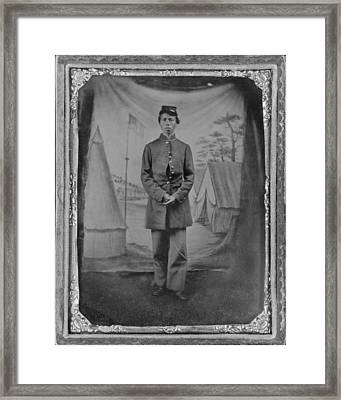 African American Soldier Posed In Front Framed Print by Everett