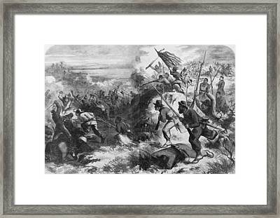 African American Soldiers In A Civil Framed Print by Everett