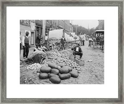 African-american Vendors Selling Farm Framed Print by Everett