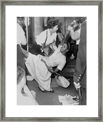 African American Woman Resisting Framed Print by Everett
