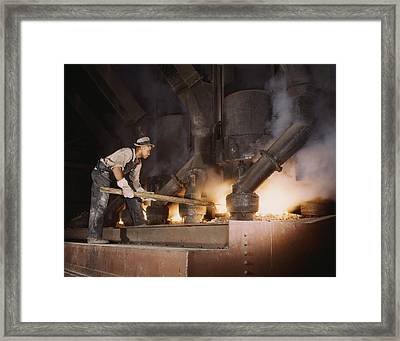 African American Worker At An Electric Framed Print by Everett