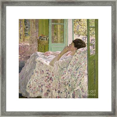 Afternoon - Yellow Room Framed Print by Frederick Carl Frieseke